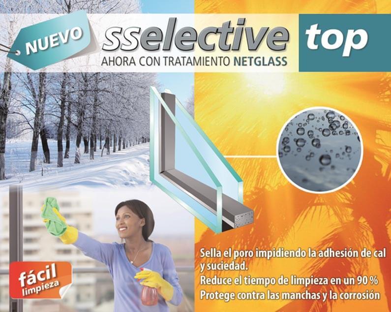 Vidrio Sselective TOP, con tratamiento netglass para mejorar la limpieza
