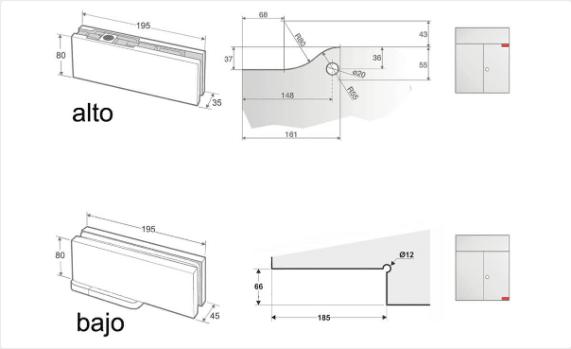 Pernio hidráulico especial para puertas exteriores