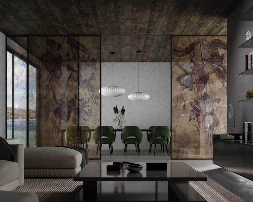 Dividir espacios vidrio decorativo